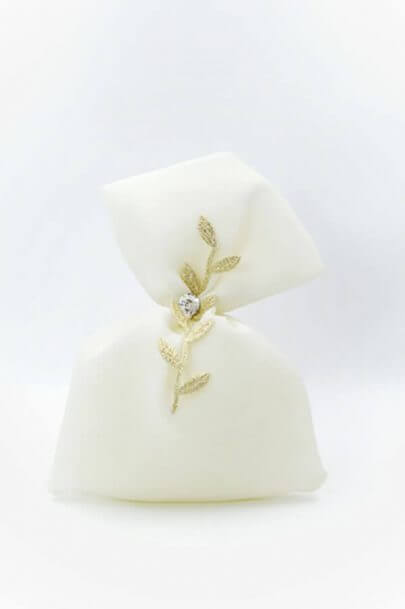white pouch gold leaves lace swarovski