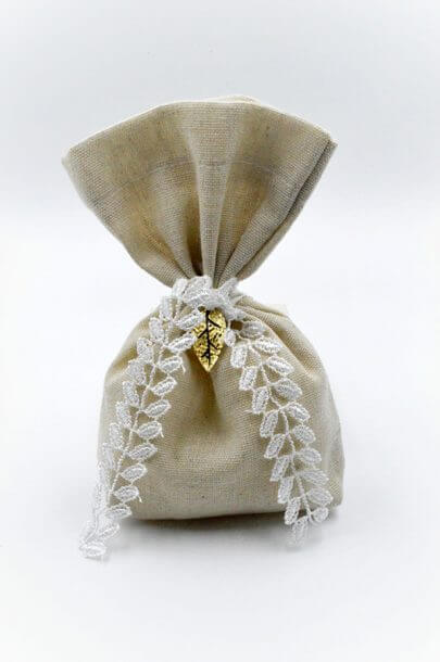 beige pouch white lace gold leaf
