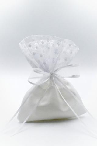λευκό πουγκί φιόγκος τούλι