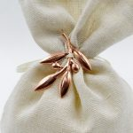 metallic olive leaves white pouch